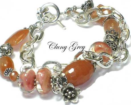 gemstone bracelet with peach aventurine