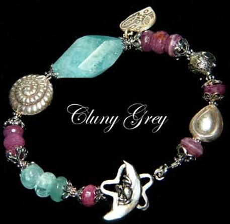 ruby bracelet with aquamarine and sterling silver