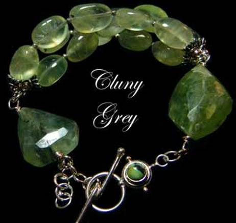 prehnite gemstone bracelet with sterling silver