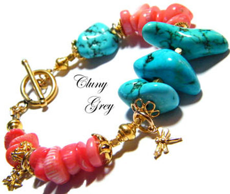 turquoise and coral bracelet with gold